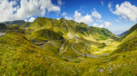 transfagarasan: Transfagarasan Mountain Winding Road Landscape in Romania Stock Photo