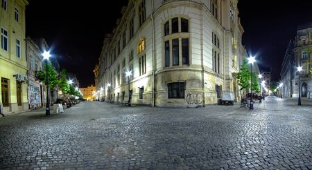 old center: BUCHAREST, RO, MAY 2015: French and Post Streets in Old Center at Night.