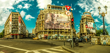 nations: BUCHAREST, RO, MAY 2015:  United Nations Square and Victory Street (Calea Victoriei).