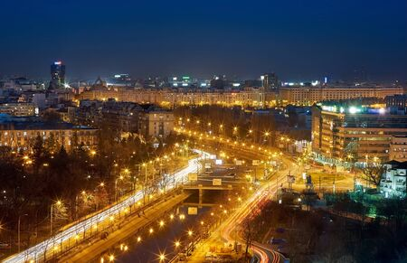 Bucharest Aerial View of Dambovita River at night. Stock Photo