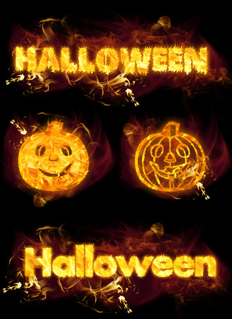 playbill: Fire on burning Halloween text and flaming pumpkins.