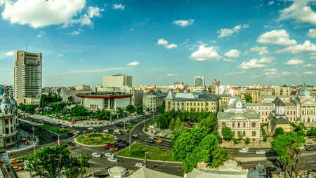 Aerial view of University Square in Bucharest, Romania.