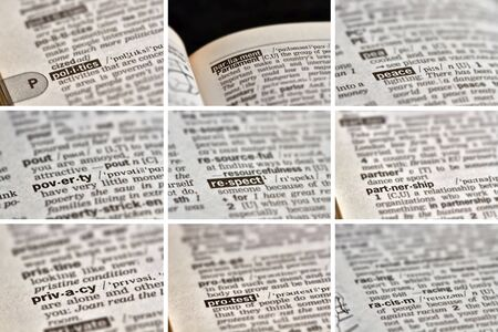 definitions: Politics Words in Dictionary Stock Photo