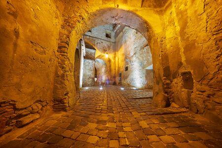 citadel: Entrance Tunnel in Sighisoara Citadel Stock Photo