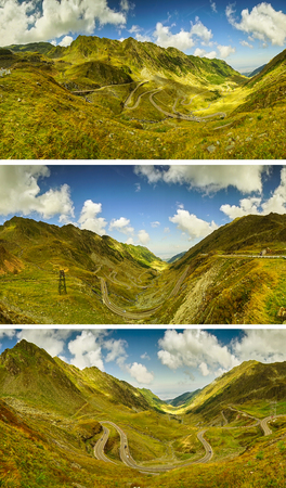 transfagarasan: Transfagarasan Mountain Highway in Romania -- Landscape Collage.