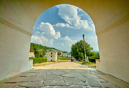 tunnel view: Tunnel view at Horezu Monastery in Romania.