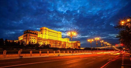 largest: bucharest Parliament Palace at night. Second largest building in the world.