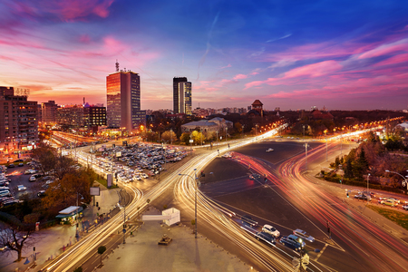 Bucharest. Aerial view of Victory Square at sunset.