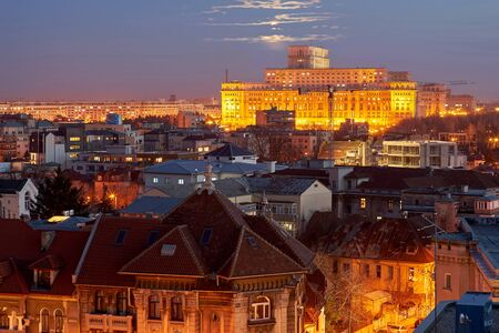 bucuresti: Bucharest Aerial View of Parliament Palace at Sunset Stock Photo