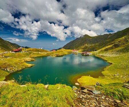 balea: Balea Lake Landscape in Fagaras Mountains Romania