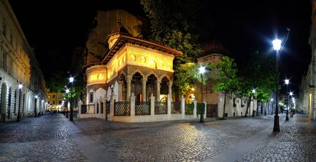 Stavropoleos Church at night in Bucharest