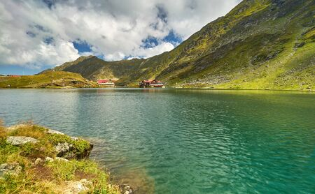 balea: Balea Mountain Lake -- Summer Landscape in Romania Stock Photo
