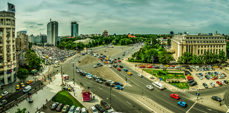 BUCHAREST, RO, MAY 2015: Aerial view of Victory Square.