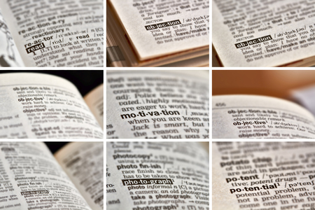 objection: Education Learning Words in Dictionary Stock Photo