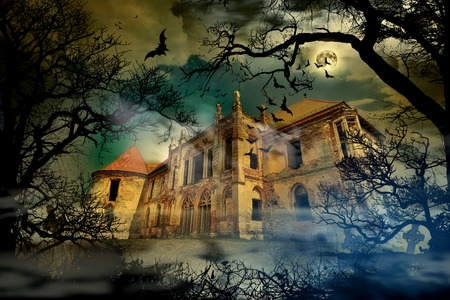 Haunted castle in creepy foggy background with tree silhouettes.