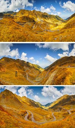 sere: Transfagarasan Mountain Highway in Romania -- Autumn Landscape Collage.