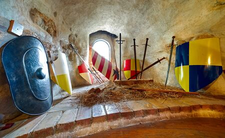 brasov: Medieval wapons at museum in Brasov, Romania.