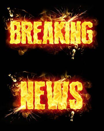Breaking news words in blazing flames.