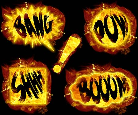 Fire bang boom pow shhh and exclamation mark ! Stock Photo