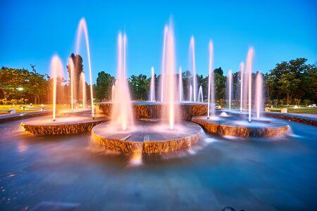 titan: Artesian Fountain in Titan Park, Bucharest Stock Photo