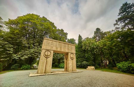 constantin: Gate of the Kiss By Constantin Brancusi in Targu Jiu, Romania. Editorial