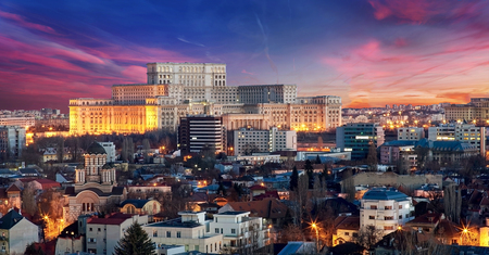 Bucharest Aerial View of Parliament Palace at Sunset Stock Photo