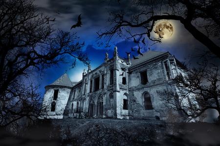 Spookhuis in griezelige mistige achtergrond met boom silhouetten. Stockfoto