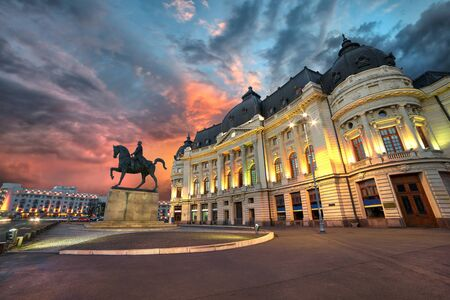 bucuresti: Bucharest by night. Sunset at the University Library.