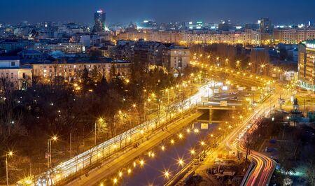 bucuresti: Bucharest Aerial View of Dambovita River at night. Stock Photo