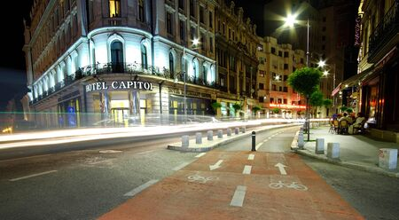 car lights: BUCHAREST, RO, MAY 2015:  Victory Street Bike Track with night traffic car lights. Editorial
