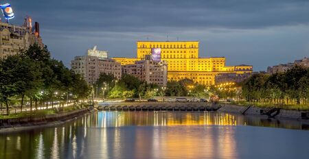 Bucharest by Night. Palace of Parliament 스톡 콘텐츠