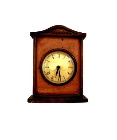 wooden clock: Old brown wooden clock on white background. Stock Photo