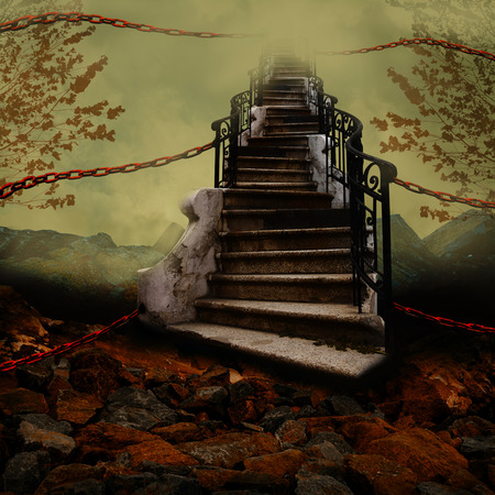 stairway to heaven: Stairway towards the sky with orange chains.