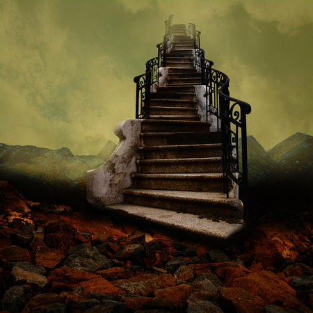 stairway to heaven: Surreal stairway towards the sky, like an old painting.