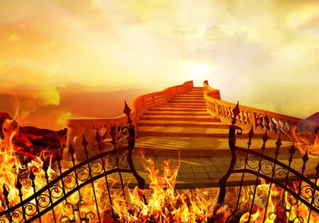Stairway to Heaven Coming from Hell. Success Concept. 스톡 콘텐츠