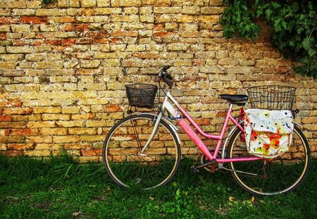 pink bike: Pink bike and weathered brick wall in Venice. Stock Photo
