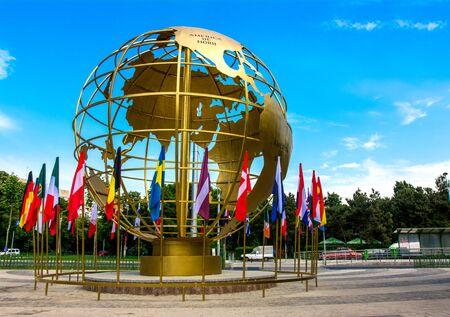 golden globe: Golden globe with flags in Titan Park, Bucharest, Romania.