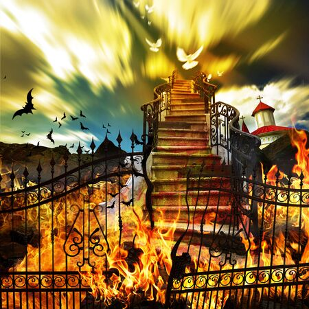 heaven and hell: From Hell To Heaven Stairway Concept with Gates on Fire Stock Photo