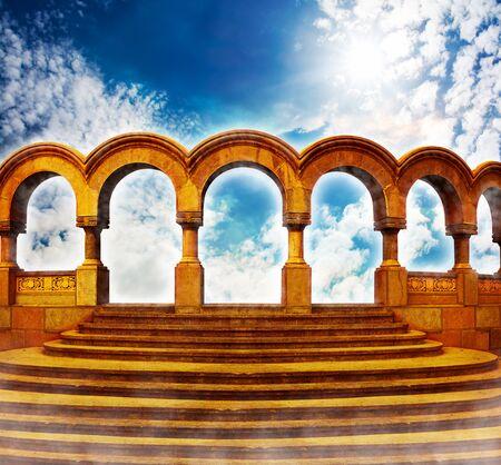 stairway: Stairway to heaven in bright sky.