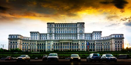 largest: Parliament Palace, second largest building world wide, Bucharest, Romania. Stock Photo