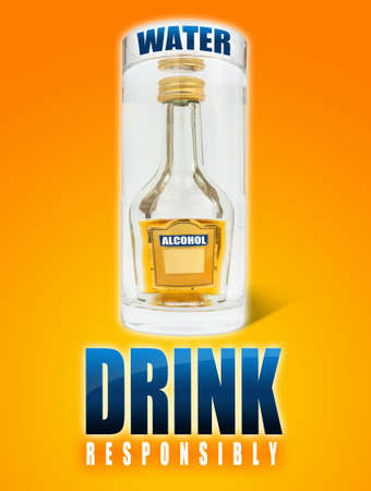 drink responsibly: A big glass of water, a small alcohol bottle inside and the text drink responsibly.