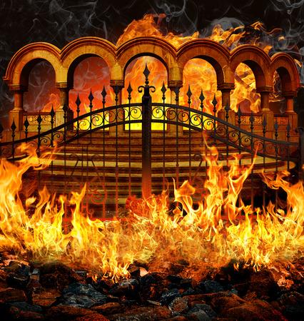 entrada infierno fantástico con puertas, escaleras y el portal como columnas cubiertas en llamas y el humo.