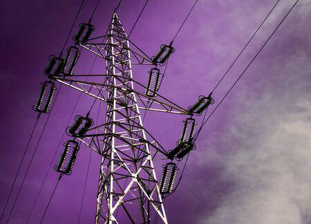 electricity pole: Electricity pole with purple sky.