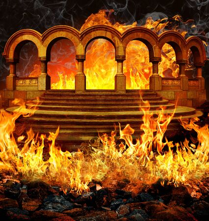 Fantastic hell entrance with stairs and portal like columns covered in flames and smoke. 写真素材