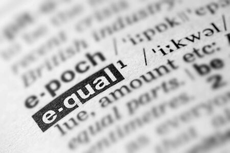 definition: Equal Definition Word Text in Dictionary Page Stock Photo