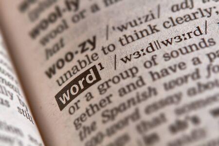 definicion: Texto de palabra en el diccionario p�gina Foto de archivo