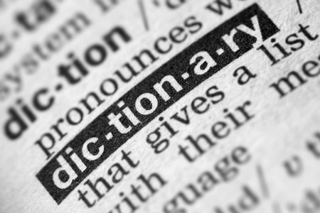 Dictionary Word Text in Dictionary Page Archivio Fotografico