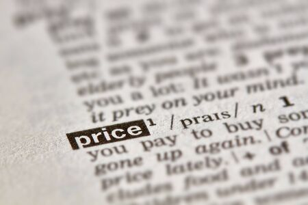 Price Word Definition Text in Dictionary Page Imagens