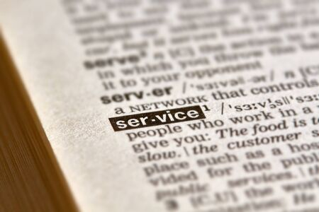 definition: Service Word Definition Text in Dictionary Page