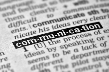 definicion: Comunicaci�n Palabra Definici�n de texto en el diccionario p�gina Foto de archivo